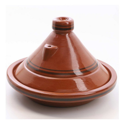 Casa Moro Schmortopf Marokkanische Tajine Terra Miel glasierter Tontopf, handgetöpfert aus Marrakesch, Ton, (2-tlg), Made in Marokko braun Ø 34 cm