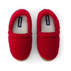 Hausschuhe aus Teddyfleece, Kids, Größe: 30 Junge, Rot, by Lands' End, Satt Rot - 30 - Satt Rot