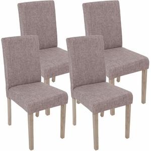 4x Esszimmerstuhl Littau, grau, Beine Struktur - Eiche, Textil