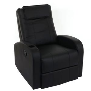 Fernsehsessel Durham, TV Sessel Relaxsessel Liegesessel, Kunstleder ~ schwarz