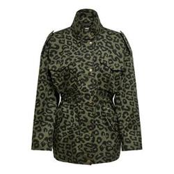 ONLY Leoparden Viskose Parka Damen Grün Female S