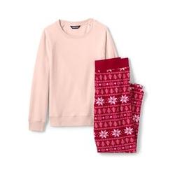 Fleece Pyjama-Set mit gemusterter Hose - XS - Rot