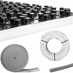 40 m² Fußbodenheizung-Set - Noppensystem - 30 mm Wärme-Trittschall-Dämmung