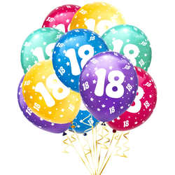 Luftballon Set Zahl 18 für 18. Geburtstag Party 10 Deko Ballons Geburtstagsdeko bunt