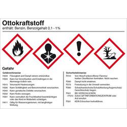 Gefahrstoffetikett Gefahrstoffetikett Ottokraftstoff Folie selbstklebend (B x H) 148mm x 105mm 1St.