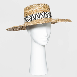 Women's Wide Brim Straw Boater Hat with Guitar Strap Band - Universal Thread Natural, Brown