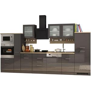 Küchenzeile Küchenblock Einbauküche mit Elektrogeräten 370 cm hochglanz grau