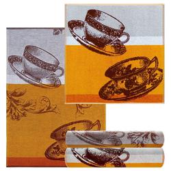 Lashuma Handtuch Set Kaffeetasse (4-tlg), Küchentücher Frottee 2x 50x50, Geschirrhandtücher 2x 50x70