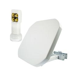 PremiumX FLAT43 Sat Flachantenne mit Quad LNB - Satellitenantenne Satellitenanlage für 4 Teilnehmer - 4K UHD FullHD HD SAT-Antenne