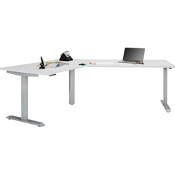 Maja Möbel Schreibtisch eDJUST Schreibtisch 5512, 120° Winkelkombination, elektrisch höhenverstellbar, 2-Motoren-Gestell, Memoryfunktion weiß 248 cm x 72 cm - 120 cm x 157,8 cm