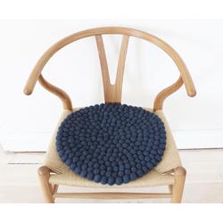 Wooldot Sitzkissen Uni Color, rund, Filzkugel-Teppich, Wolle, auch als Set bestellbar blau