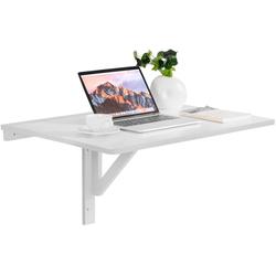 COSTWAY Schreibtisch Klapptisch aus Holz 80x60cm weiß 60 cm x 45 cm x 80 cm