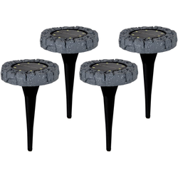 näve LED Gartenleuchte LED-Solar Bodenleuchte, Bodenleuchte mit Erdspieß, 4er Set