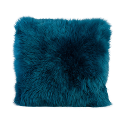 Gözze Schaffell-Kissen, 40 x 40 cm, Echtfellkissen in aktuellen trendigen Farben, Farbe: petrol