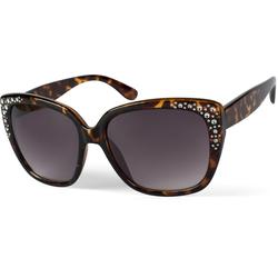 styleBREAKER Sonnenbrille Cat-Eye Schmetterling Sonnenbrille mit Strass Getönt braun