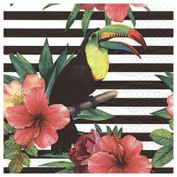 Linoows Papierserviette 20 Servietten Tropische Blüten, Tukan Tropical, Motiv Tropische Blüten und Regenbogen, Tukan