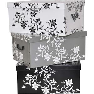"""Kreher Set 3 Stück Deko Karton """"Barock Blumen"""".Stabile Kartons aus Pappe in Schwarz, Weiß und Grau. XL Volumen mit Kunststoff Griffen und Deckel. Preiswert und schön. Maße ca. 51 x 37 x 24 cm"""