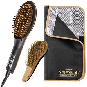 Genius Simply Straight Professional Keramik Haar-Glätt-Bürste | 3 Teile | 2 in 1 Glätteisen und Bürste | inkl. Hitzeresistente Tasche und Detangle Entwirrbürste | Für alle Haartypen | TV-NEU