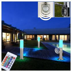 etc-shop LED Steckdosenleuchte, 3er Set RGB LED Außen Leuchten Dimmer Fernbedienung Garten Lampen Bewegungsmelder Steckdosen