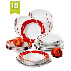MALACASA Tafelservice FELISA (18-tlg), Porzellan, Geschirrset aus Porzellan mit rotes Streifen
