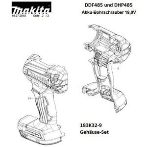 Makita Original Gehäuse-Set für Akku-Schrauber DDF/DHP485 183K32-9 183K329