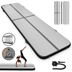 COSTWAY Gymnastikmatte 300 x 100 cm Air Track, Yogamatte schwarz 100 cm x 400 cm x 10 cm