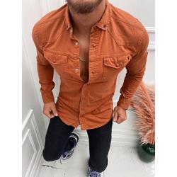 Megaman Jeans Langarmhemd Premium Herren Hemd Basic Freizeithemd dickes Hemd Unifarben Langarm Slim-Fit 100% Baumwolle braun 2XL