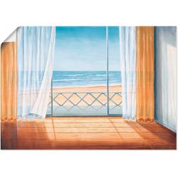 Artland Wandbild Terrasse mit Meerblick, Fensterblick (1 Stück) 70 cm x 50 cm