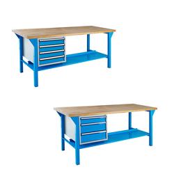 ADB Werkbank mit Schubladenbox (3/4 Schubladen - 150/200 cm), Schubladenanzahl: 4 Schubladen, Tischlänge: 150 cm