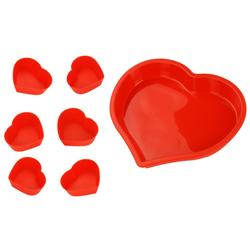 Herz Silikonbackform inkl. Muffinförmchen - Antihaft Kuchenform Backform aus Silikon