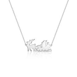 925er Silberkette Santa und Rentierschlitten für Damen