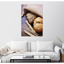 Posterlounge Wandbild, Frisch gebackenes Brot auf Holztisch 60 cm x 90 cm