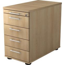 bümö Container OM-SC50 mit Schloss & 5 Schubladen - Schreibtisch Bürocontainer, Standcontainer fürs Büro - Dekor: Eiche natur