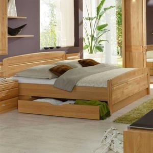 Doppelbett aus Erle Teilmassiv Bettkasten