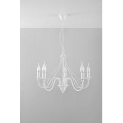 Licht-Erlebnisse Kronleuchter FIORANO Kronleuchter Rustikal Weiß nostalgisch Landhaus Hängeleuchte Lampe