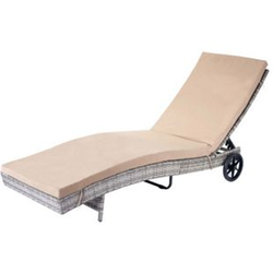 Sonnenliege MCW-D80, Gartenliege Relaxliege Liege, Poly-Rattan ~ grau, Kissen beige