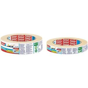 tesa Malerband - Vielseitiges Klebeband für Malerarbeiten ohne Lösungsmittel Mittel, 50 m x 30 mm & Malerband - Vielseitiges Klebeband für Malerarbeiten ohne Lösungsmittel schmal, 50 m x 19 mm