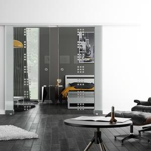 Glasschiebetür, LEVIDOR SoftStop / Soft Close, 2-flg., Satiniert Design Dekor