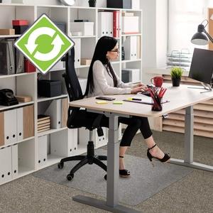 """Floortex Bodenschutzmatte   Bürostuhlunterlage """"Ecotex evolutionmat""""    120 x 130 cm   aus verbessertem Polymer mit bis zu 50 % recyceltem Inhalt   transparent   rechteckig   TÜV zertifiziert   für standardflorige Teppichböden"""