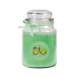 HS Candle Duftkerze (1-tlg), Karneval - Fasching Kerze im Bonbon Glas, Kerze mit Karneval's - Motiv grün Ø 10 cm x 10 cm x 16 cm
