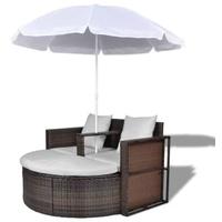 VidaXL Polyrattan Gartenbett mit Sonnenschirm braun