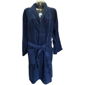 Ilkadim Bademantel Unisex, Damen Herren Morgenmantel blau oder grau, Größe M - XXL,100% Baumwolle Plüsch (blau, XL)