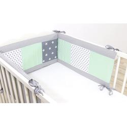 ULLENBOOM ® Bettnestchen Baby Nestchen Mint Grau 180 x 30 cm (Made in EU), (1-tlg), Ideal fürs Babybett (160x20 cm), Bezug aus 100% Baumwolle, Design Patchwork grau