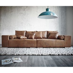XXL-Couch Marbeya Braun 285x115 cm Antik Optik Hocker und Kissen