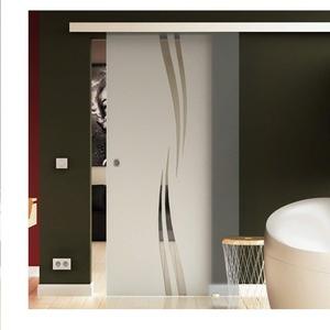 Glas Schiebetür 205x90 cm Dessin. Welle (A) Levidor® EasySlide-System komplett Laufschiene und Muschelgriffe Schiebetür aus Glas für Innenbereich  ESG-Sicherheitsglas