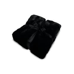 Wohndecke, jilda-tex, schwere, hochwertige und warme Fellimitat-Decke schwarz
