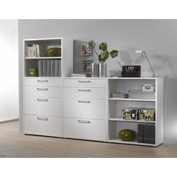 ebuy24 Regal, Mehrzweckregal Prisme Büro Aufbewahrung 3 Ablagen, 8 Schubladen w