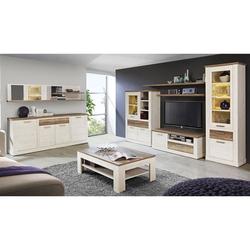 expendio Wohnzimmer-Set Durio 30, (Spar-Set, 8-tlg), Pinie weiss mit LED-Beleuchtung