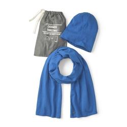 TOM TAILOR Strickschal Mütze und Schal mit Kaschmir-Anteil blau