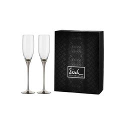 Eisch Champagnerglas CHAMPAGNER EXKLUSIV Sektglas platin 2er Set (2-tlg), Glas